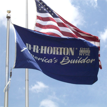 Custom D. R. Horton flag flying with the U.S. flag