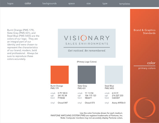 A page from the Visionaryh Sales Environments brand guidelines showing the brand colors