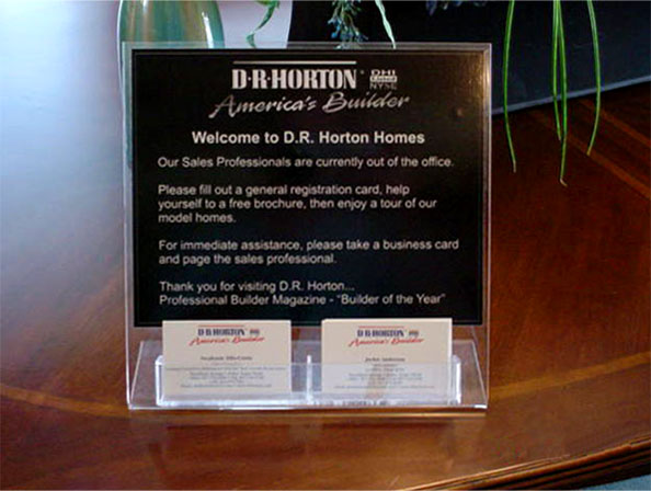D. R. Horton table top display that holds business cards