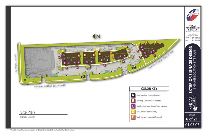 A page from the Shoal Creek sign program showing a site plan of the facility and sign placement