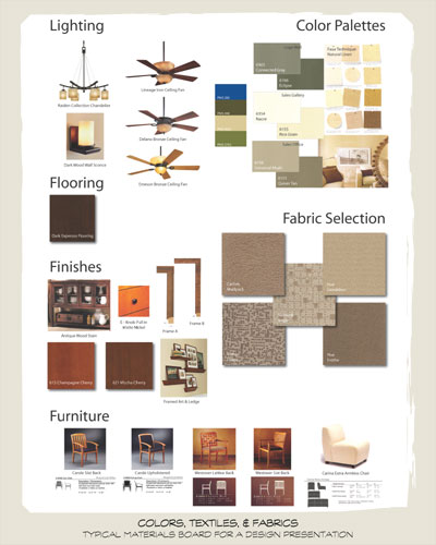 A page of examples including fabrics, colors, and ceiling fans